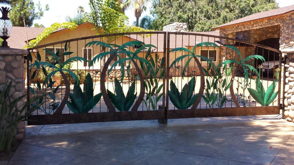 Palm & Bird of Paradise Driveway gates  Steel 16'