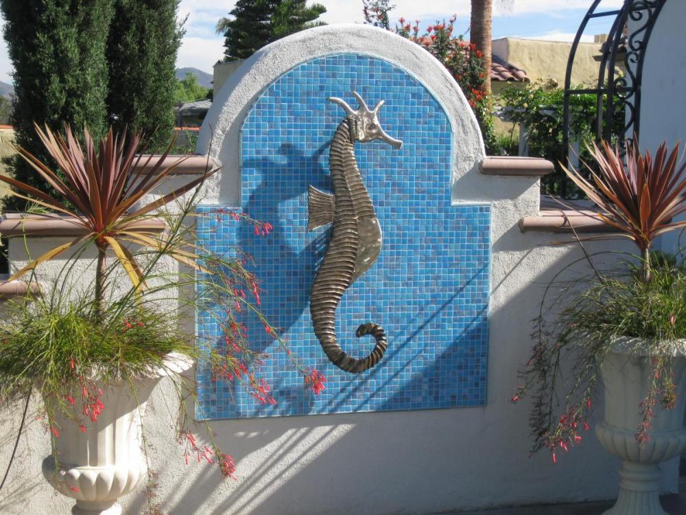 Bronze Seahorse Relief