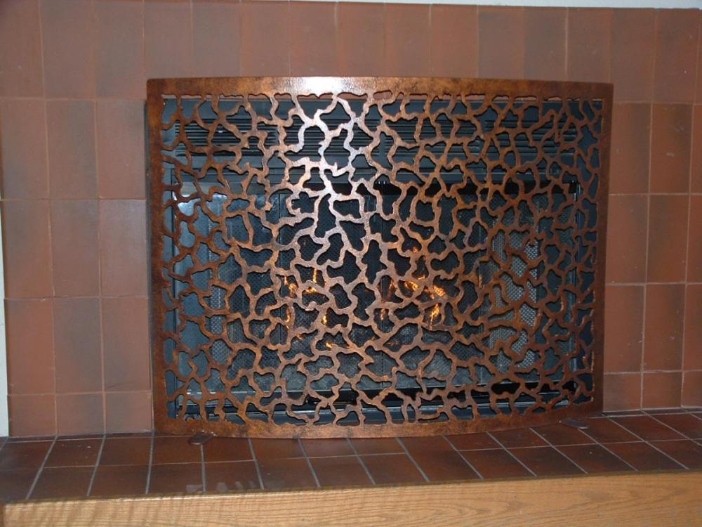 Coral Abstract Fire Screen