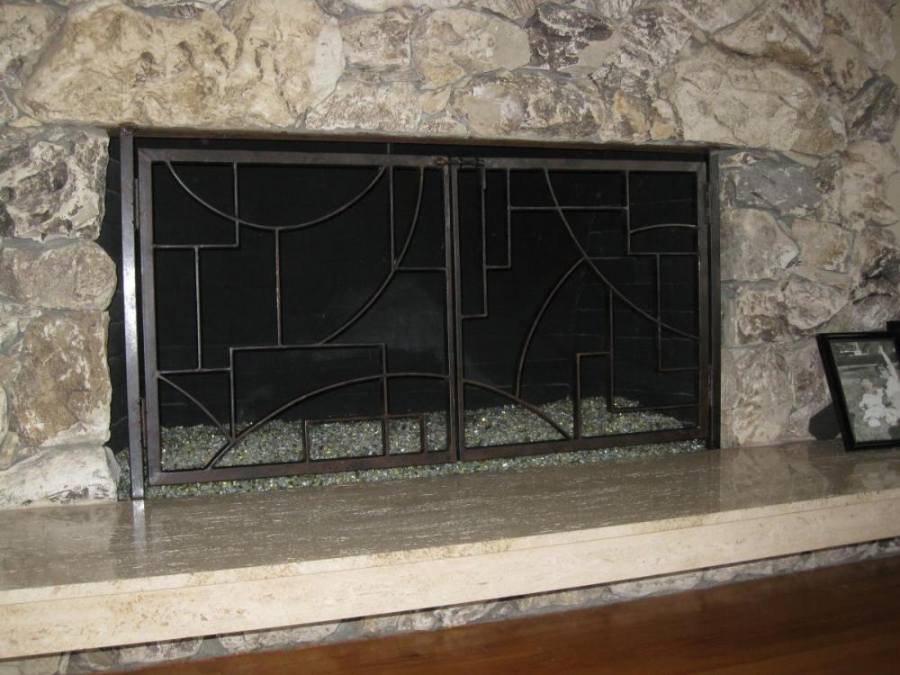 Geometric Design Fire Screen